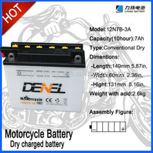 12N7B-3A,12Volt 7Ah, Dry charged storage battery for Mini-motorcycle, Scooter, Motorcycle,factory wholesale price