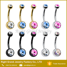 PVD Plated Double Gems Navel Rings Belly Button Piercing