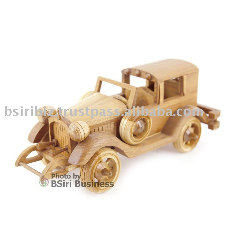 Wooden car model for desk decorated
