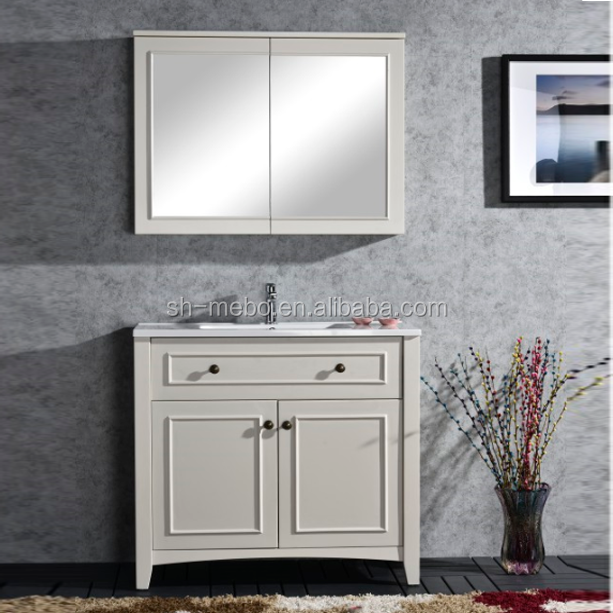 Traditional matt white bathroom vanity furniture /mirror cabinet &polymarble basin