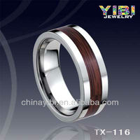 big size finger rings, real wood inlay ring