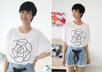 newly design beautiful girls tee flower white t shirt korean style women clothes