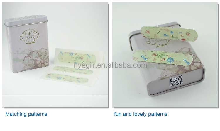 Lovely cartoon waterproof wound plaster in tin box for kids with CE FDA and ISO certicificates