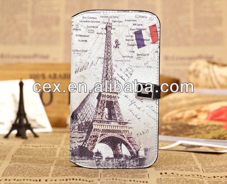 Retro Paris Eiffel Tower Pattern Leather Case for Samsung Galaxy Mega 5.8 i9150