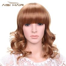AISI HAIR synthetic hair wigs heat resistant fiber medium body wave brown blonde highlights fanny wigs
