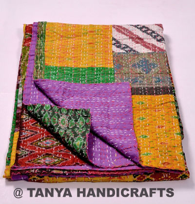 Handmade kantha quilt blanket throw vintage indian quilt