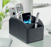 Black leather desk organizer in office