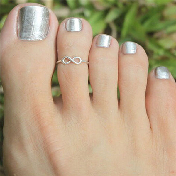 Custom Silver Plated Best Infinity Symbol Open Adjustable Toe Rings