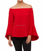 MIKA1019 New pagoda sleeve off-shoulder tops