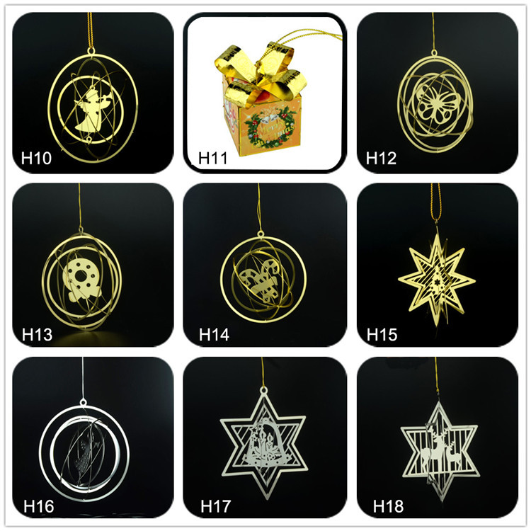Metal personalized hang ribbon christmas tree Ornaments