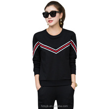 blank high quality marathon school uniform sportsuits black pullover cool style tracksuit pullover+long pants slim OL gym suits