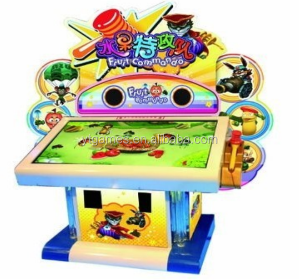 Fruit commando hammer hitting video redemption game machine