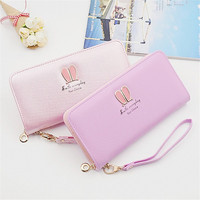 In stock cheap price lady colorful gift purse women rabbit ears pattern PU leather wallet wholesale