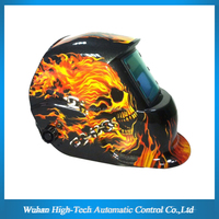 open face variable shade 9-13 auto darkening welding helmet with skull decals