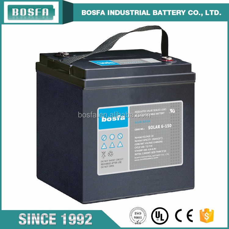 sealed agm rechargeable solar battery 6v 150ah SOLAR6-150 for power system