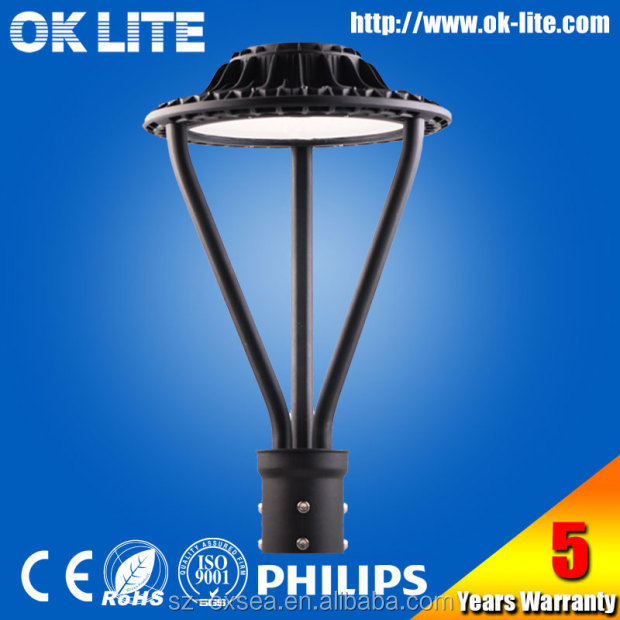 MODERN black outdoor photocell 75W post top luminaire