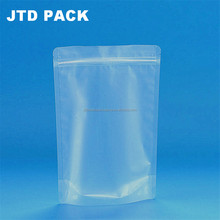 Qingdao JTD Plastic Manufacturer Wholesale Customized Disposable Frosted Clear Ziplock Stand Up Juice Drinking Pouches Bags