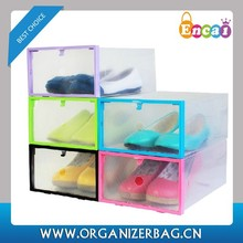 Encai Fashion Frame Style Shoebox Collapsible Clear Plastic Storage Boxes For Shoes Wholesale