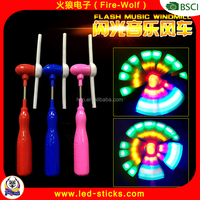LED Windmill 2016 Magic Spinning Flash Light Windmill Wand Toy with Music For Christmas China Maunfacturer