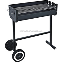 Portable small outdoor camping folding barbecue charcoal BBQ grill with 2 wheel for easy moving