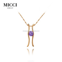 Latest saudi gold jewelry pendants , simple design purple stone accessories pendant for women <strong>necklace</strong>