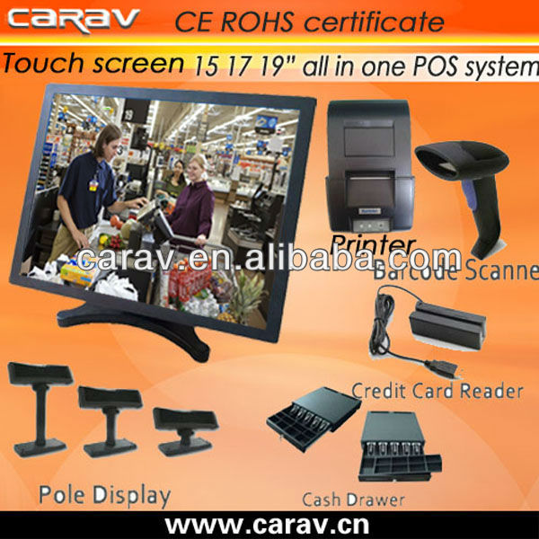 Restarant/supermarket/shops/hotels/bars 17inch lcd touch printer all in one pos with barcode scanner ( 4 wire resistive touch)