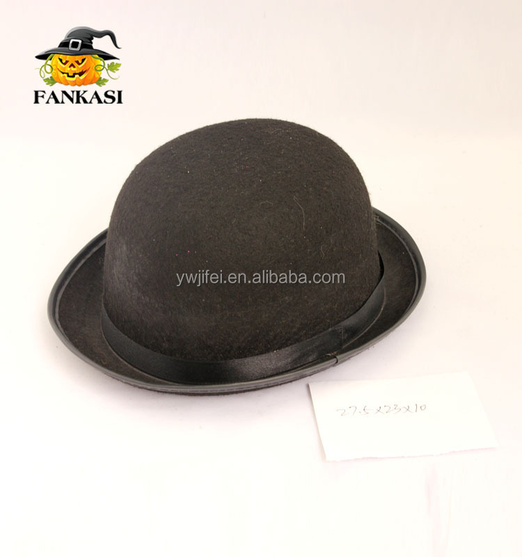 Black Bowler Hat Felt Material for Party