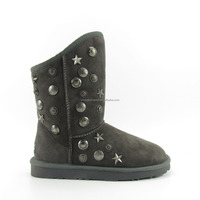 designer sheepskin boot snow boot winter boot women shoe grey