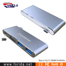 Forida aluminum 3-in-1 Charging Combo USB3.1 Type C Hub with PD charging