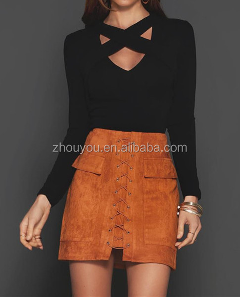 European and American ladies new fashion faux suede skirts cross bandage double pocket wrapped hip skirt