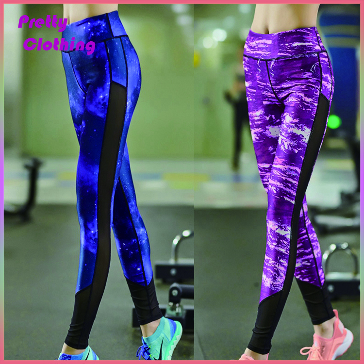 Custom women's pants fitness training tights exercise outfit mesh yoga leggings