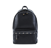 18SA-6841F Stud decorated black top quality front zipper pocket simple style leather backpack for men with laptop pocket