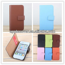 Horizontal Flip with Card Bag Pattern Mobile Phone Cases for iphone 4s case leather Solid Color PU Leather Material