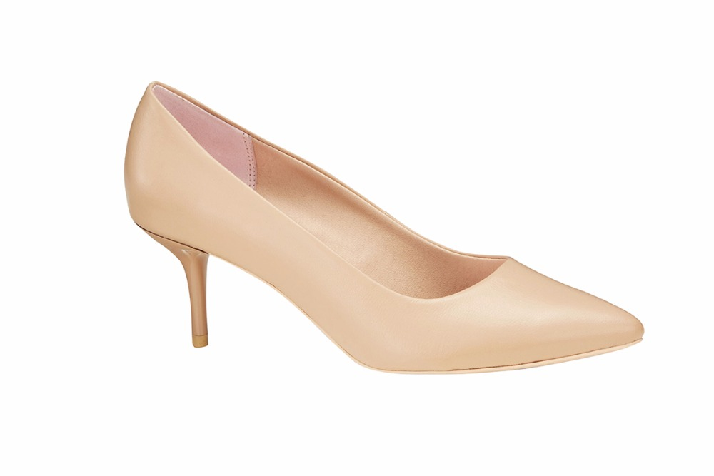 Pretty women Mid high Heel pointed toe classic ladies breatheable PU lining comfortable nude sheep skin pump shoes