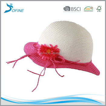 Fashionable design wholesale paper straw hat with big flower