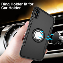 Mobile phone hockproof hybrid ring holder cover case for iphone x 2 in 1 tpu pc phone shell, for apple iphone x case tpu pc