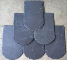 natural Fish Scale Shape Black Scalloped Roofing Slate Tile
