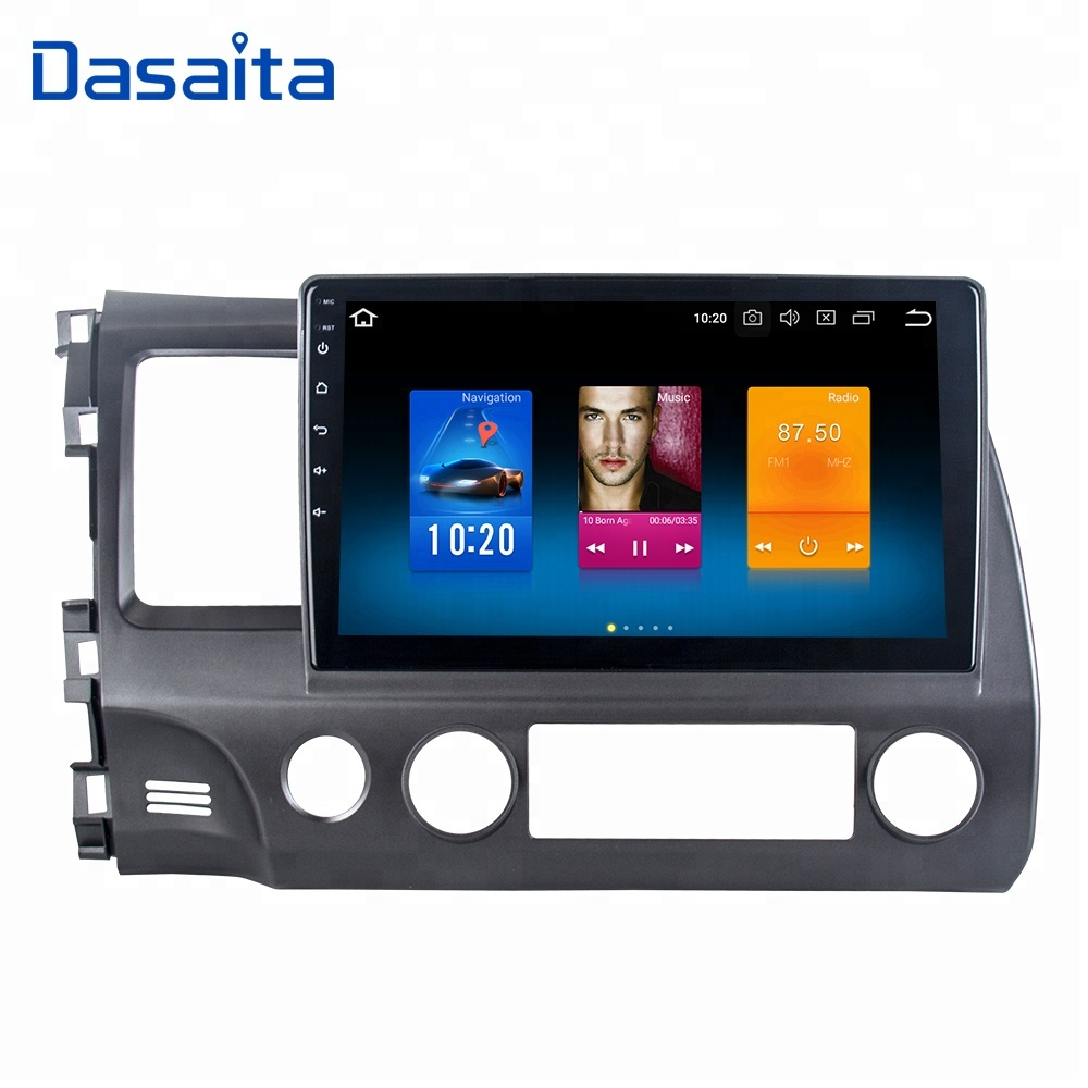 "Dasaita Android 8.0 10.2"" touch screen car audio dvd player for Honda old civic 2009 2010 2011 radio with GPS navigation system"