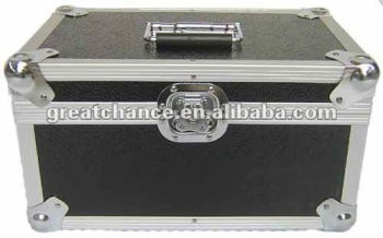 Vinyl Record DJ Case 7'' Black Aluminium Lockable Storage Case 200