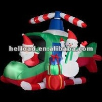 hot sell inflatable christmas father with snowman in the helicopter