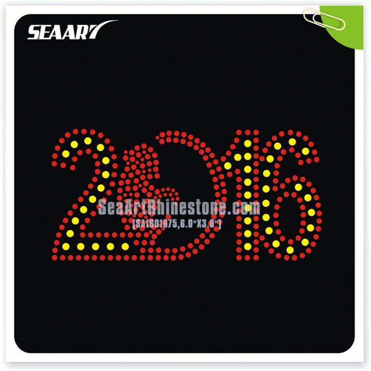 Number colorful cheap custom rhinestone heat transfers