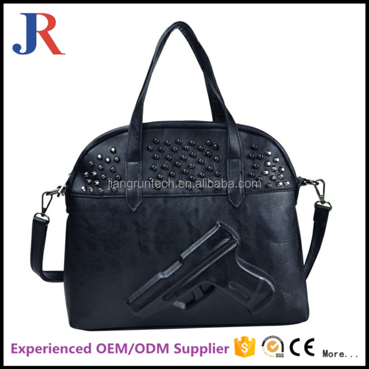 2017 Hot selling top quality european style 3d gun new design Fashion leather cooler bag hand bag women's shoulder bag