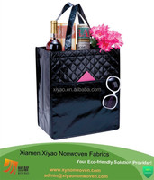 black non-woven grocery ladies laminated shopping convention tote quilted bag