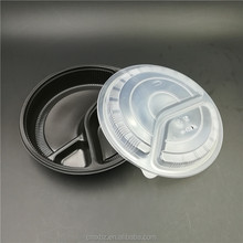 Round disposable 3 compartment lunch boxes bento with lids