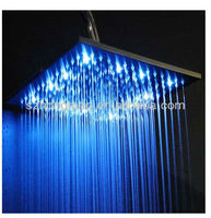 "LED stainless steel square shower head 12"",18"",20""with water saving function"