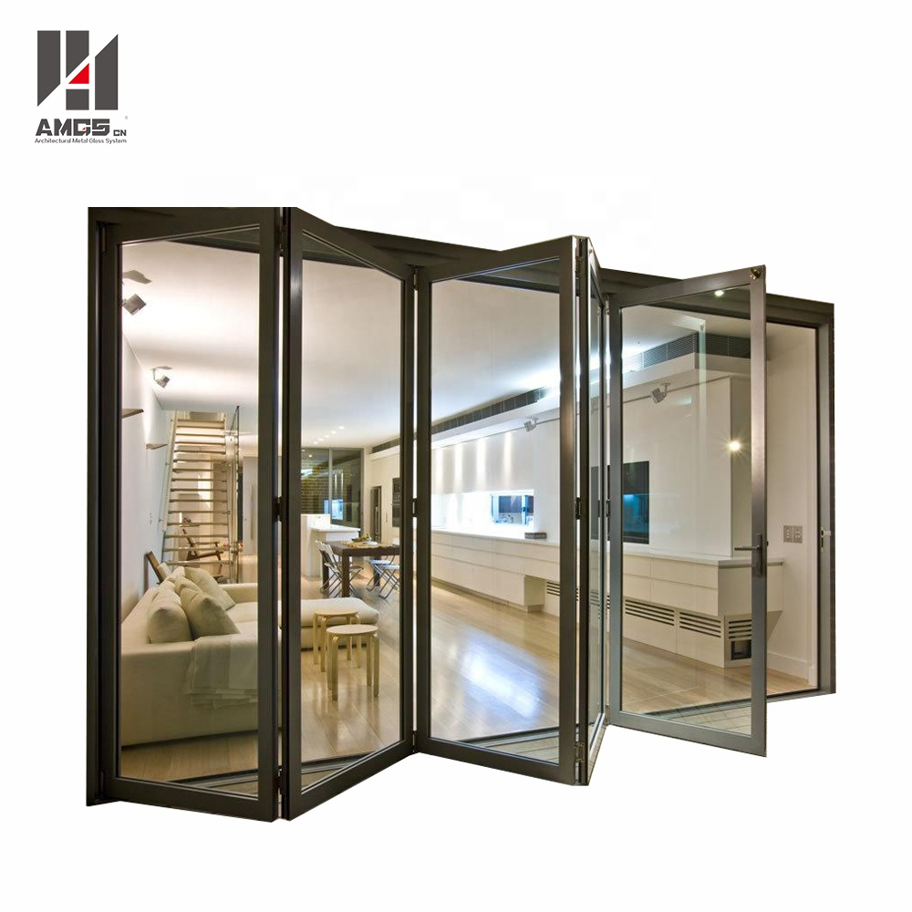 exterior balcony insulated glass accordion aluminum sliding folding <strong>door</strong>