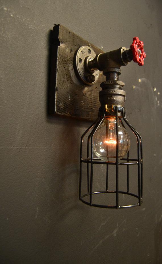 15 steampunk luminaire bois applique murale industrielle lampe ancienne home decor - Applique ontwerp industriel ...