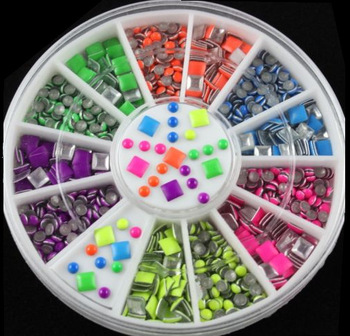 Wholesale Japanese design 3D nail art 2mm round 3 mm square mixted DIY decorations