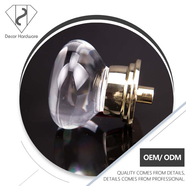 Zinc Alloy Transparent Round Moden discount kitchen cabinet knobs hardware