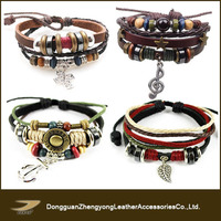Professional wholesale custom leather cord charm fashion accessories bracelet